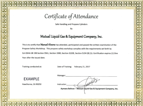 Propane Safety Training Certificate