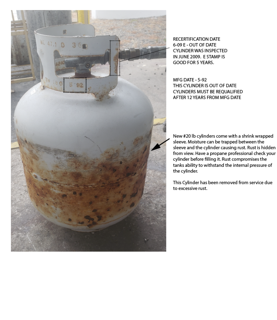 Propane Cylinder Excessive Rust 20 pound vapor cylinder. Common BBQ Tank.